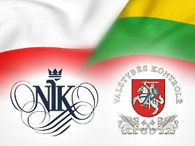 Logos of the Supreme Audit Office of Poland and National Audit Office of Lithuania, Polish and Lithuanian in background