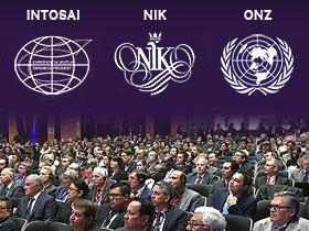 Logos of INTOSAI, the Supreme Audit Office of Poland and ONZ. Bellow photo from event