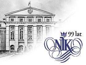 Logo of the Supreme Audit Office of Poland with sign 99 years in background NIK headquarters