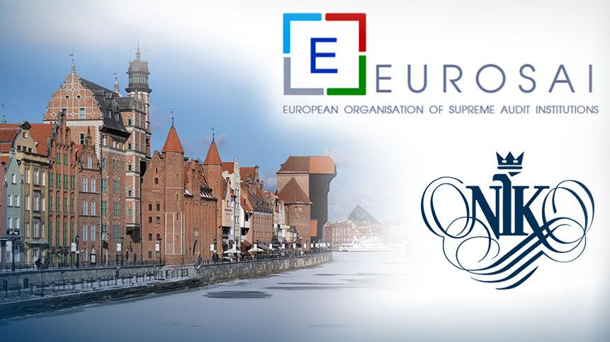 EUROSAI and NIK logo, Gdańsk panorami in background