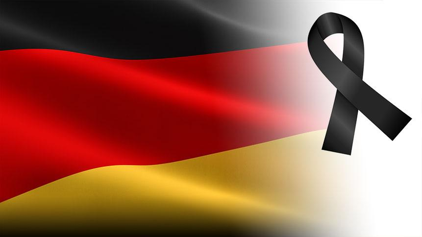 German flag with black ribbon