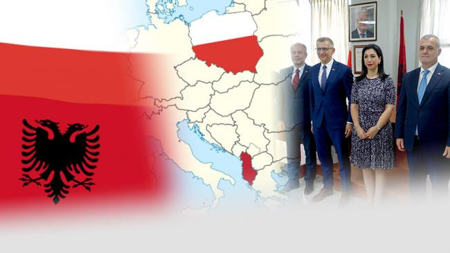 Flag of Albania and Poland, map of Europe with Albania and Poland coloured in national colours, photo from twinning closing ceremony