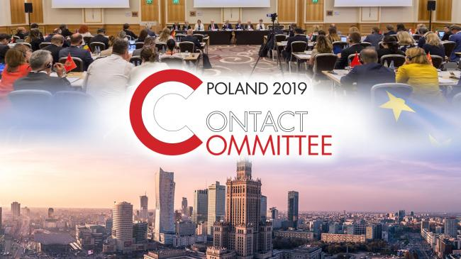 Logo of Contact Committee meeting in Poland 2019 in the background photos from meeting session and panorama of Warsaw