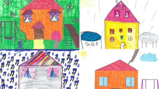 Four children's drawings of a house