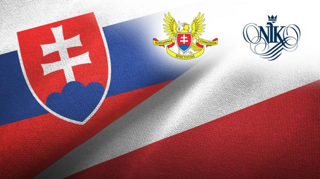 Flags of Slovakia and Poland, logotyps of Slovak Supreme Audit Office and NIK