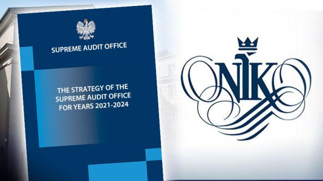 A printed version of NIK's Strategy (on the left) and the logo of NIK (on the right)