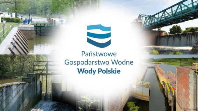 Polish Waters logo in the middle and some water facilities in the background