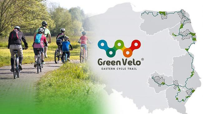 A group of cyclists on cycle trail and a map of the Green Velo Cycling Trail