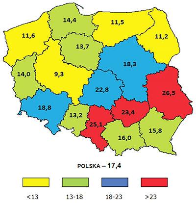 Zapadalność na gruźlicę w poszczególnych województwach (link do opisu pod grafiką)