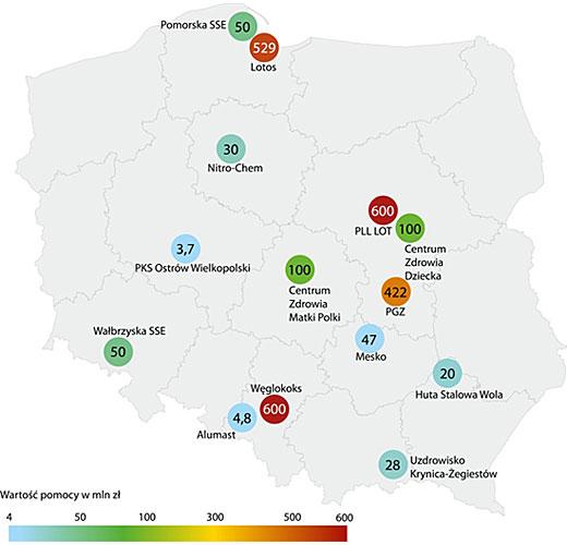 Mapa beneficjentów Funduszu Restrukturyzacji Przedsiębiorców