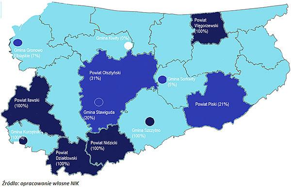 Odsetek dróg w skontrolowanych gminach i powiatach mających zatwierdzone organizacje ruchu
