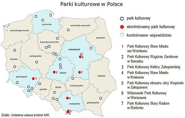 Parki kulturowe w Polsce (mapa)