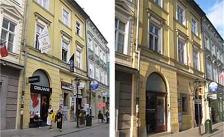 Kraków, ul. Floriańska, zdjęcia ulicy przed i po ustanowieniu parku kulturowego