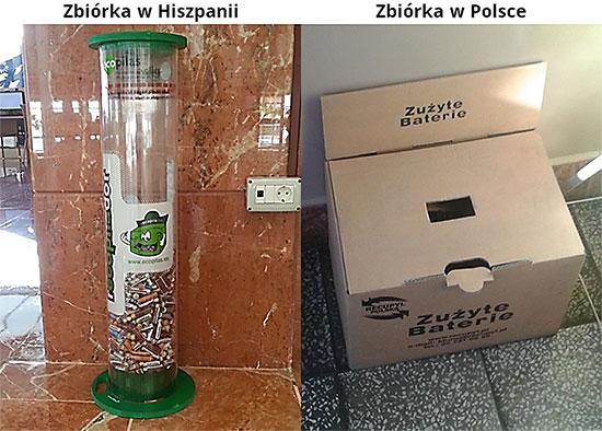 Zdjęcia ze zbiórka zużytych baterii w Hiszpanii i w Polsce