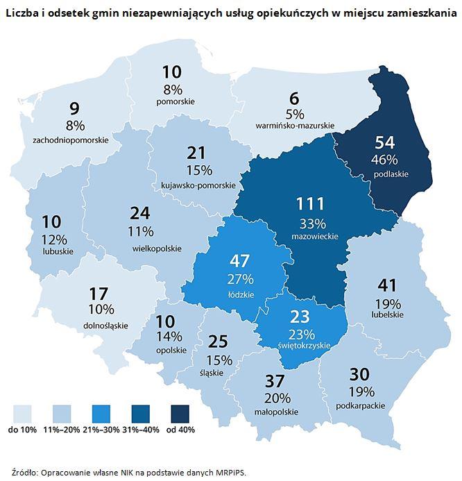 Liczba i odsetek gmin niezapewniających usług opiekuńczych w miejscu zamieszkania Źródło: Opracowanie własne NIK na podstawie danych MRPiPS.