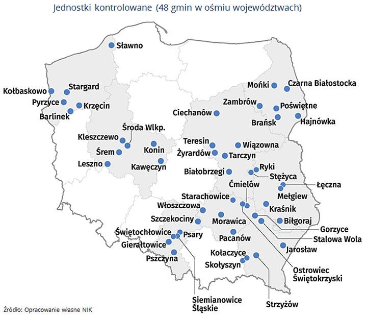 Jednostki kontrolowane (48 gmin w ośmiu województwach). Źródło: Opracowanie własne NIK