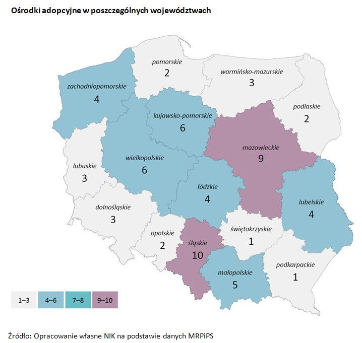 Ośrodki adopcyjne w poszczególnych województwach