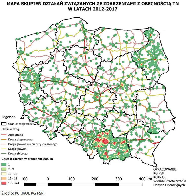 Mapa skupień działań związanych ze zdarzeniami z obecnością TN w latach 2012-2017. Opracowanie KG PSP, KCKRiOL, Wydział Przetwarzania Danych Operacyjnych