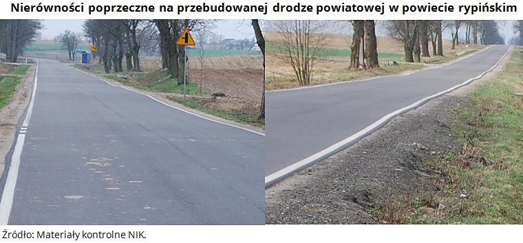 Nierówności poprzeczne na przebudowanej drodze powiatowej w powiecie rypińskim. Źródło: Materiały kontrolne NIK.