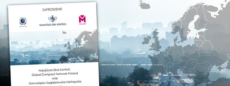Zaproszenie na debatę, w tle miasto przesłonięte smogiem