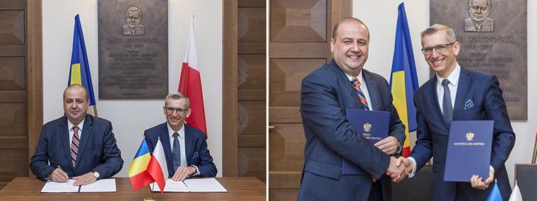 Prezes NOK Rumunii Mihai Busuioc i Prezes NIK Krzysztof Kwiatkowski podpisują porozumienie