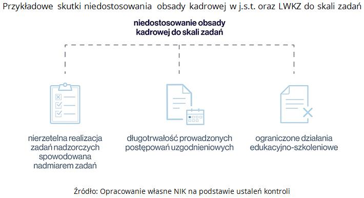 Przykładowe skutki niedostosowania obsady kadrowej w j.s.t. oraz LWKZ do skali zadań. Źródło: Opracowanie własne NIK na podstawie ustaleń kontroli