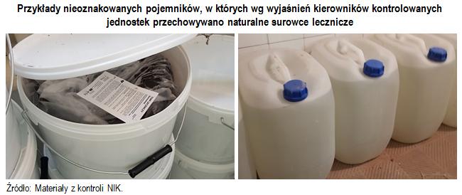 Przykłady nieoznakowanych pojemników, w których wg wyjaśnień kierowników kontrolowanych jednostek przechowywano naturalne surowce lecznicze. Źródło: Materiały z kontroli NIK.
