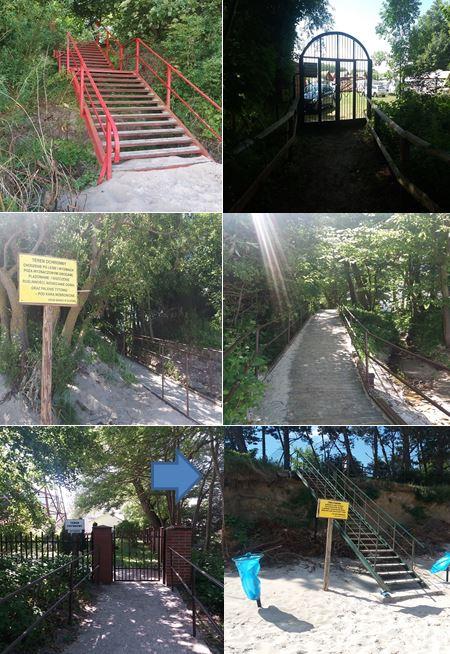 Przykłady prywatnych przejść na plażę w Gąskach oraz stanu technicznego części z nich (strzałka na szóstym zdjęciu wskazuje naruszoną konstrukcję umocowania schodów w skarpie)