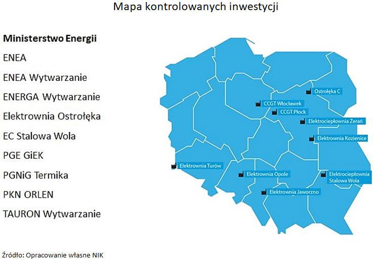 Mapa kontrolowanych inwestycji. Źródło: Opracowanie własne NIK.