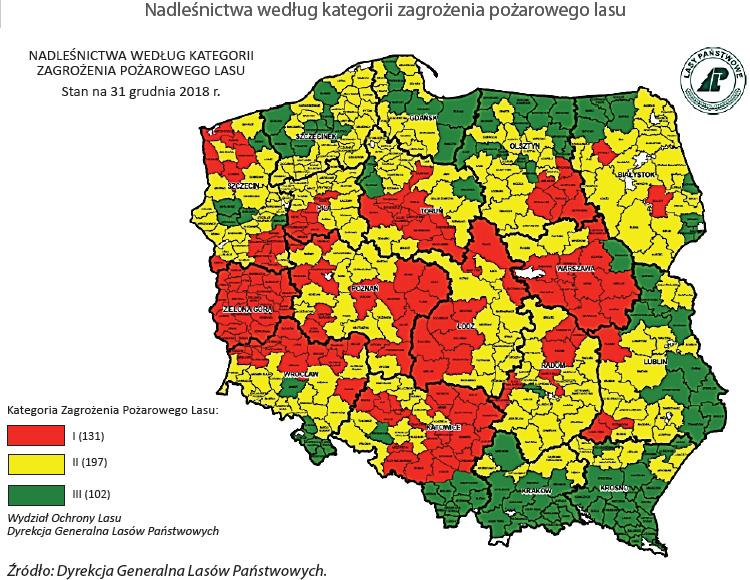 Nadleśnictwa według kategorii zagrożenia pożarowego lasu. Źródło: Dyrekcja Generalna Lasów Państwowych.