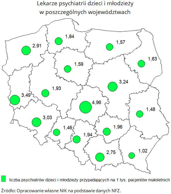 Lekarze psychiatrii dzieci i młodzieży w poszczególnych województwach. Źródło: Opracowanie własne NIK na podstawie danych NFZ.