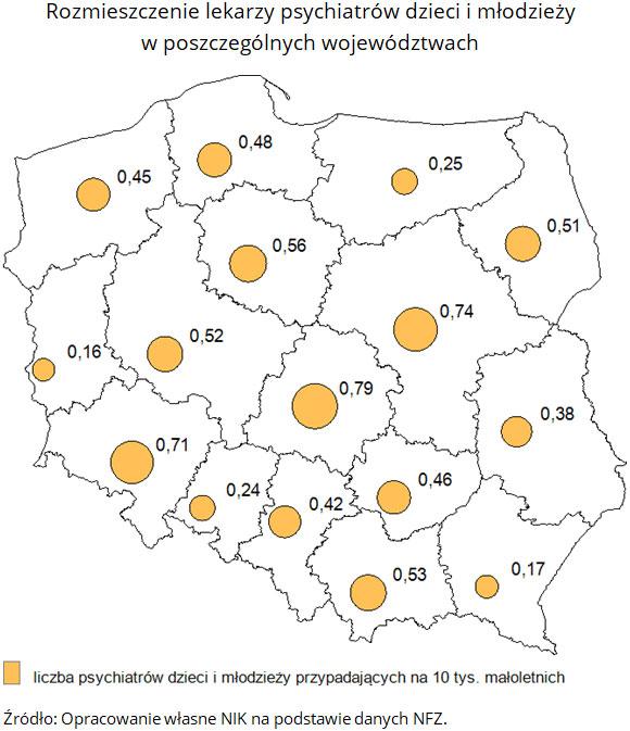 Rozmieszczenie lekarzy psychiatrów dzieci i młodzieży w poszczególnych województwach. Źródło: Opracowanie własne NIK na podstawie danych NFZ.