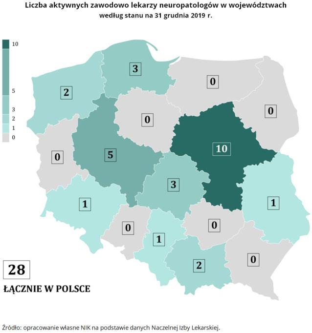 Liczba aktywnych zawodowo lekarzy neuropatologów w województwach, według stanu na 31 grudnia 2019 r. Źródło: opracowanie własne NIK na podstawie danych Naczelnej Izby Lekarskiej.