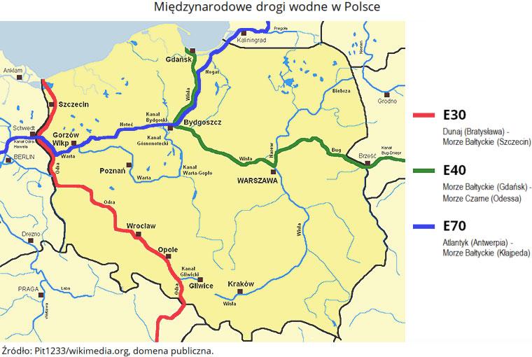 Międzynarodowe drogi wodne w Polsce. Źródło: Pit1233/wikimedia.org, domena publiczna.