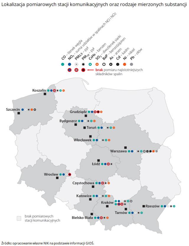 Lokalizacja pomiarowych stacji komunikacyjnych oraz rodzaje mierzonych substancji. Źródło: opracowanie własne NIK na podstawie informacji GIOŚ.