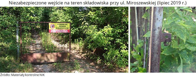 Niezabezpieczone wejście na teren składowiska przy ul. Miroszewskiej (lipiec 2019 r.). Źródło: Materiały kontrolne NIK
