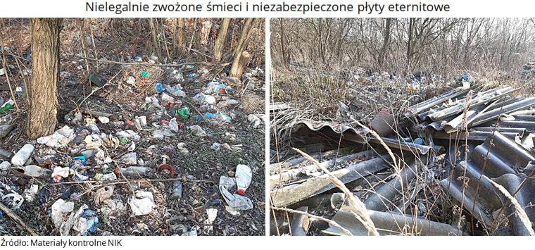 Nielegalnie zwożone śmieci i niezabezpieczone płyty eternitowe. Źródło: Materiały kontrolne NIK