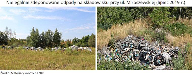 Nielegalnie zdeponowane odpady na składowisku przy ul. Miroszewskiej (lipiec 2019 r.). Źródło: Materiały kontrolne NIK