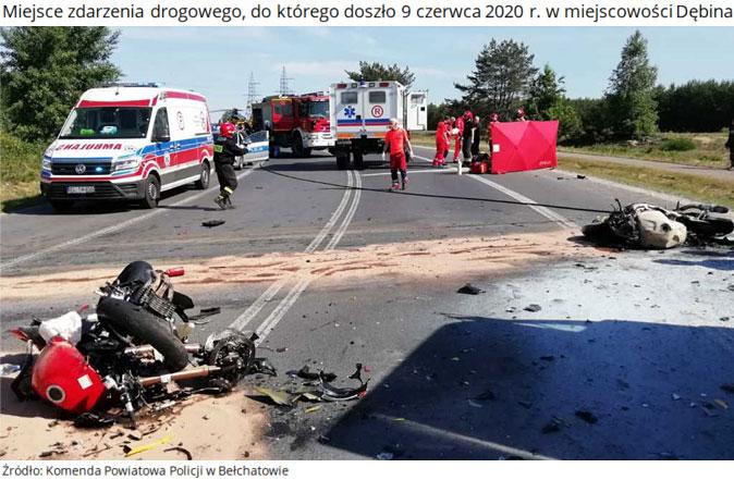 Miejsce zdarzenia drogowego, do którego doszło 9 czerwca 2020r. wmiejscowości Dębina. Źródło: Komenda Powiatowa Policji wBełchatowie