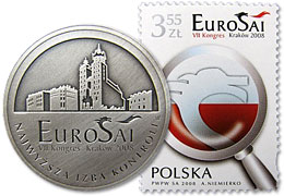 Commemorative coin and stamp of 8th EUROSAI Congress in Cracowow