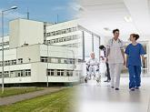 Ilustracja: Zdjęcie budynku szpitala i korytarz szpitalny